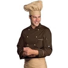 tenue de cuisine homme veste chef cuisinier manches longues extralight biscuit cacao