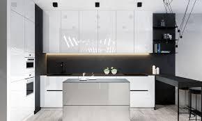 Shiny White Kitchen Cabinets Kitchen Black And White Kitchen Features Glossy White Kitchen