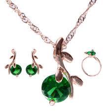 zircon crystal necklace images Green smaragd color necklace round zircon crystal pendant necklace jpg