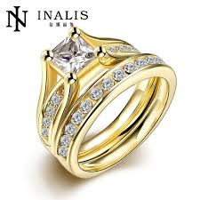 fashion golden rings images Fashion zircon double ring jewelry 316l stainless steel golden jpg