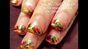 thanksgiving nails fall no water drag marble nail design