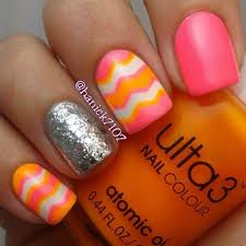 Pretty Orange Pink And Orange Glitter Nails This Would Be Cute On The Toes