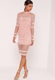 midi dress lace high neck midi dress pink missguided