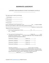 free roommate agreement template download roommate rental lease agreement form pdf rtf word