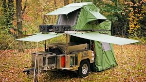 Pop Up Kitchen Tent by A Tiny Pop Up Trailer Hiding All Your Camping Needs