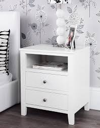 girls white bedside table brooklyn white bedside table with 2 drawers and shelf metal runners
