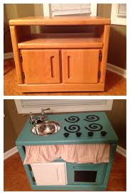 diy play kitchen made from an old nightstand diy play kitchen