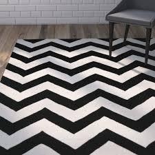 varick gallery wilkin chevron ivory black area rug u0026 reviews wayfair