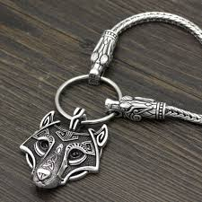 chain necklace with pendant images Chain necklace with wolf head beads and wolf head pendant JPG