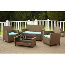 Outdoor Furniture Wicker Resin by 4 Piece Outdoor Patio Furniture Set In Brown Wicker Resin With