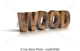 wodden wood word a white background 3d shape drawings