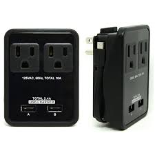 compact power station 2 4 amp dual usb ports 2 ac outlet wall