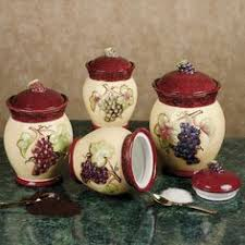 grape kitchen canisters grapes kitchen canisters set ceramic fruit theme home decor by kkm