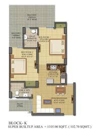 2 Bhk Floor Plans Floor Plan Of Gaur City 7th Avenue Tower