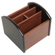 Office Desk Organizers Accessories by Amazon Com Revolving Wooden 4 Compartment Desktop Office