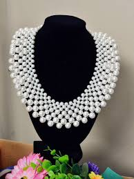 white pearl beaded necklace images How to make a bridal white pearl bead statement necklace jpg