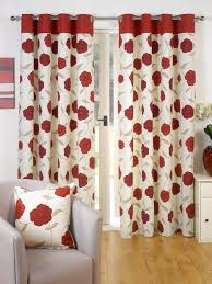 superb 100 cotton red cream fl poppy ring top lined curtains 66 x 90