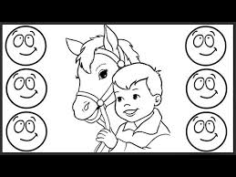 coloring for children to learn colors and paint this boy and horse