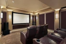 Blackout Curtains For Media Room Theater Room In Luxury Home With Lounge Chairs Stock Photo Media