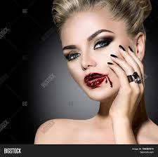 halloween vampire woman make up beautiful with vampire