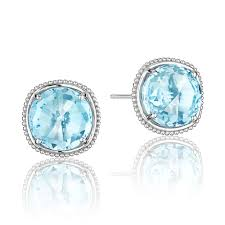 blue topaz stud earrings tacori 18k925 tacori 18k925 island rains sky blue topaz stud