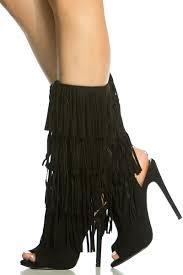 womens fringe boots size 9 black faux suede fringe peep toe boots cicihot heel shoes