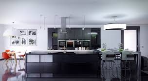 kitchen gray cabinet with built ovens refrigerator and kitchen gray cabinet with built ovens refrigerator and coffee maker also oversized pendant lamps