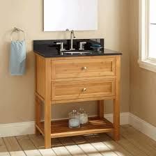 frameless picture hanging open vanities brown wooden sink cabinet with gray top hanging