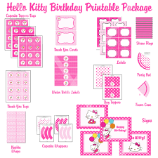 hello kitty hybrid printable birthday party package pink