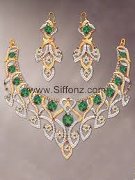 beautiful earring necklace set images Pakistani party jewellery set with green semi precious stones jpg