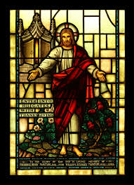 vintage stained glass window enter his gates with thanksgiving