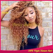 curl in front of hair pic honey blonde virgin brazilian kinky curly glueless human hair full