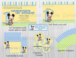 baby mickey 1st birthday baby mickey 1st birthday personalized invitations alanarasbach