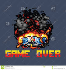 pixel art car police car explosion and game over message retro pixel art stock