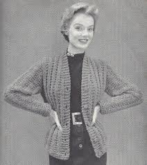 misses bulky knit cardigan sweater vintage knitting pattern pdf