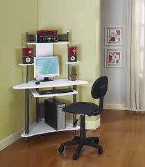 white solod wood corner computer desk with gray polished iron base