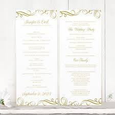 print your own wedding programs wedding program template swirls gold tea length