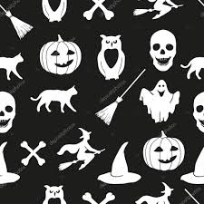 halloween images for background black and white white halloween icons on a black background u2014 stock vector