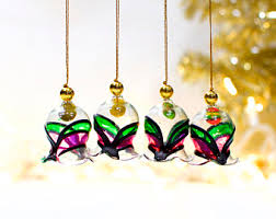glass bell ornaments etsy