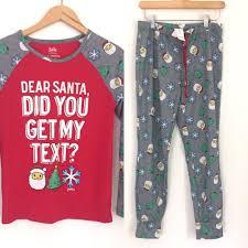justice pajamas set emoji text santa claus grey