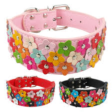 pink flower collar necklace images 2 inch wide flower studded leather dog collar for medium large jpg