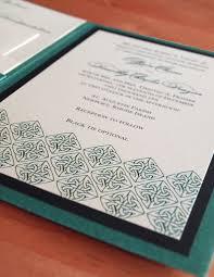 green celtic wedding invitation a7 pocket folded tara s