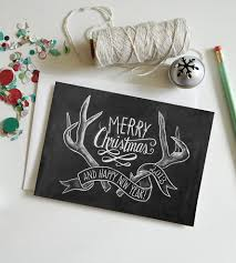 Limited Edition Antlers Holiday Chalkboard Cards U2013 Box Of 8