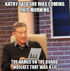 Kathy Meme - kathy said she was coming this morning the names on the board