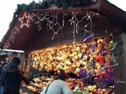 a lovely market lit up with warm lights and of