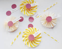 diy place cards yellow rosettes vena esperanza
