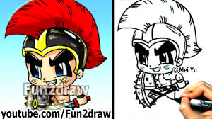how to draw cartoon people gladiator warrior fun things to