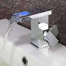 Led Bathroom Faucet by Contemporary Color Changing Led Bathroom Sink Faucet Waterfall F