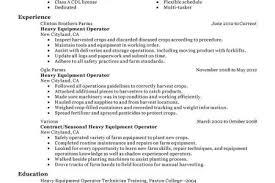 Sample Resume For Heavy Equipment Operator by Frac Resume Sample Reentrycorps