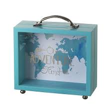 money box heaven sends our adventure fund wooden perspex money box
